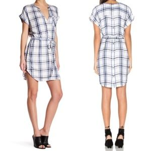 Lovers + Friends Bryce Blue Plaid Shirt Dress